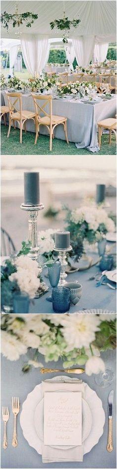 chic elegant dusty blue wedding ideas # blue Weddings 24 Brilliant Dusty Blue Wedding Color Ideas - Oh Best Day Ever Wedding Ceremony Ideas, Wedding Reception Themes, Wedding Centerpieces, Wedding Table, Wedding Colors, Wedding Bouquets, Wedding Flowers, Wedding Decorations, Reception Seating