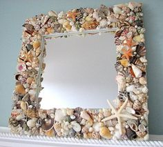 Beach Decor Shell Mirror Fully Covered w Natural Seashells, Starfish