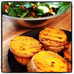 Grilled butternut squash with honey, garlic & rosemary
