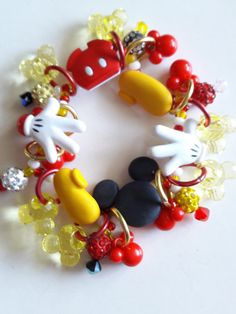 Your place to buy and sell all things handmade Mickey Mouse Gloves, Mickey Mouse Shorts, Disney Jewelry, Cute Bracelets, Super Cute, Drop Earrings, Beads, Gifts, Etsy