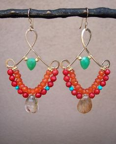 wire wrapped - chandelier earrings by wanting