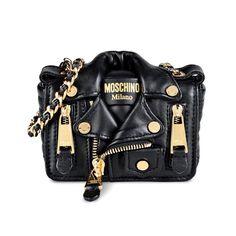 Moschino Biker Jacket Womens Mini Leather Shoulder Bag Black