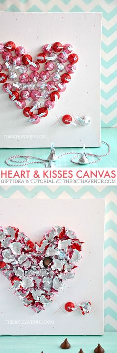 Handmade Gift Idea - Super cute Heart & Kisses Canvas. PIN IT NOW and make it later!