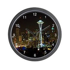 CafePress  Seattle At Night  Unique Decorative 10 Wall Clock *** This is an Amazon Affiliate link. For more information, visit image link.