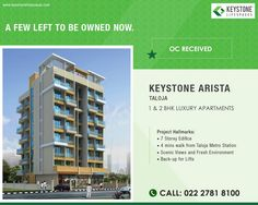 Keystone Arista, Taloja 1 & 2 BHK Luxury Apartments OC Received www.keystonelifespaces.com #keystone #keystonebuilders #realestate #luxury #luxurioushouse #realtor #propertymanagement #bestpropertyrates #homesellers #bestexperience #homebuyers #dreamhome #mumbai