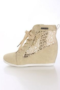 Beige Faux Leather Sneaker Wedges