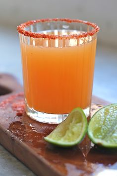 Cantaloupe, lime, and chile-salt-sugar rimmed margarita
