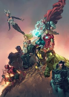 The Marvel Universe // artwork by Iwan Nazif (2013)