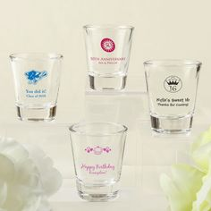 Screen Printed Shot Glass From Fashioncraft- Toast your special event with shot glasses that have a personalized message matching the theme of the occasion. Your guests will be thrilled to take one home as a keepsake. Our imported clear glass shot gl Bobe, Wedding Favors Cheap, Shot Glasses, Baby Shower Favors, Bridal Shower, Baby Design, Design Your Own, Screen Printing, Shots