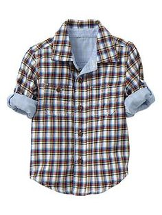 Convertible plaid striped shirt | Gap