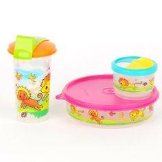 Size 3 Pink Tupperware Twin Bread Tins Set Snackbox