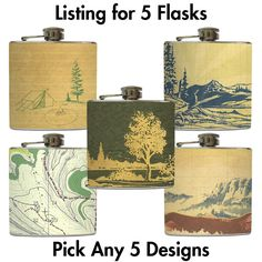 Pick 5 Whiskey Flasks for Bridal Party Gifts - 5 Stainless Steel 8 oz or 6 oz Liquor Hip Flasks. $89.00, via Etsy.