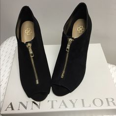 """Ann Taylor open toe black suede booties 🎀🎀 Chic & stylish suede open toe booties.  Sz 8. Heel measures approximately 3&3/4"""". Gold front zipper. No marks or stains on the shoe. Some scuff marks on soles as pictured. Worn 2 times.  They are kept in their original box.🚫trades🚫all offers considered. 🎀🎀please check out additional pics in separate listing Ann Taylor Shoes Ankle Boots & Booties"""