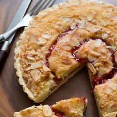 Streusel Topped Cranberry Pear Tart Recipe Desserts with refrigerated piecrusts, Stevia In The Raw, corn starch, ground nutmeg, pears, frozen cranberries, all-purpose flour, Stevia In The Raw, butter, sliced almonds