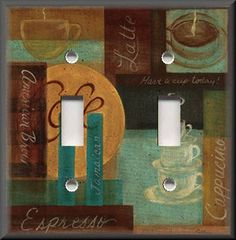 details about light switch plate cover cafe coffee kitchen decor brown teal coffee - Coffee Kitchen Decor Ideas