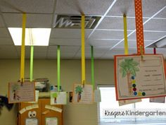 Ceiling ribbons! A colorful way to display student work in your classroom.