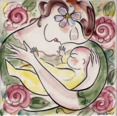 Warm embraces with the sweet new baby. Birthing 03 from the Birthing Series by Marlene L'Abbe