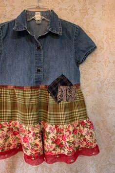 Shabby Chic Little Girls' Shirt, Funky Boho Junk Gypsy Style