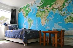Our boys' large world map wallpaper