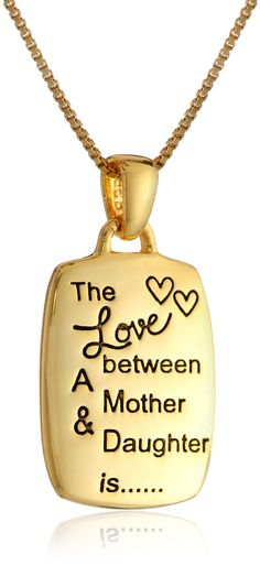"""Mother/Daughter Engraved Rectangular Pendant Necklace, 18"""""""