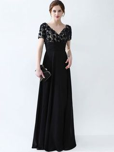 Lace Sequined Contrast Solid Color Deep V Neck Short Sleeves Maxi Dresses Mother Of Groom Dresses, Mothers Dresses, Mob Dresses, Women's Fashion Dresses, Fashion 2017, Womens Fashion, Maxi Dress With Sleeves, Chic Dress, Occasion Dresses