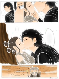 Kylo kissing a sleeping Rey.