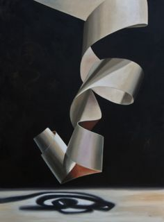 "Artist: LC Neill Title: ""Au Natural"" Medium: Oil on Canvas Dimensions: 40""x30"" This was a natural, unpainted piece of paper I curled, but you could see the shadows casting multiple colors on the ne..."