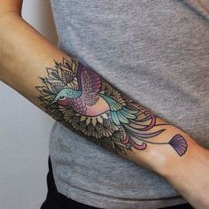 Color Bird Tat - http://www.tattooideas1.org/placement/forearm/color-bird-tat/