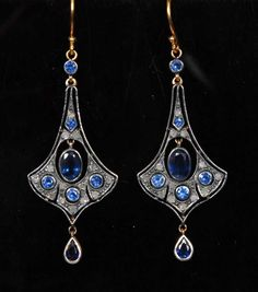 Art Nouveau Chandelier earrings encrusted with 7 Sapphires and 14 old cut diamonds. Sold in auction £500. 2015