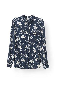 Maxwell Crepe Shirt, Vanilla Ice Bell Flower