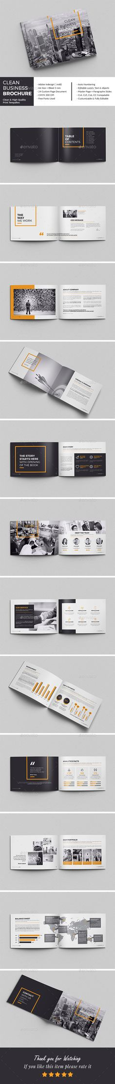 Clean Business BrochureThis InDesign Brochure is Clean & Porfessional. Create your company's documentation quick and easy. The template comes with paragraph and character styles, swatches, styles for your spreadsheet / financial info, block quotes, key …
