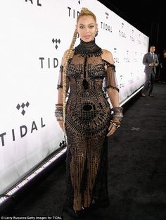 Perfection: Beyoncé Knowles-Carter was mesmerizing in an ultra-sheer black-beaded gown before the Tidal X: 1015 concert at Brooklyn's Barclays Center on Saturday