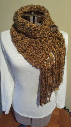 Fringe Scarf with Button Infinity Scarf Button by HookedbyKendra Tricot 46aa3f3dc2