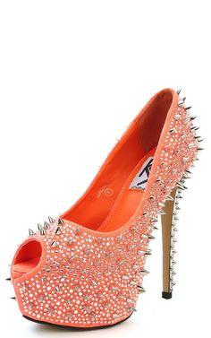 Orange Spiked High Heels
