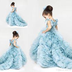 Cute Little Girl Dress Niebieskie Falbany Podpuchnięte Sukienki Suknie Wieczorowe Dla Dzieci Dziewczyny Sukienka Dzieci Vestidos De Comunion