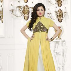 Off White Faux Georgette Lehenga Kameez with Dupatta