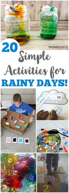 Make a rainy day into a fun learning event with these simple rainy day activities for kids! #craftsforkids #learning #kidscrafts