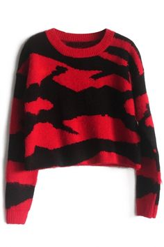 Cute Graphic Long-Sleeves #Red #Knit #Sweater - OASAP.com