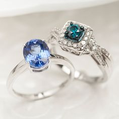 Kutamani #tanzanite #ring and a white and blue #diamond #ring