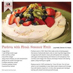 Recipe for Pavlova with Fresh Summer Fruit Pavlova Recipe, Summer Fruit, Large Bowl, Recipe Cards, Gourmet Recipes, Camembert Cheese, Oven, Deserts, Tray