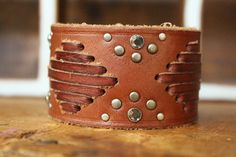 Saddle Stitched Riveted Genuine Leather Cuff by AllieBellesStudio, $56,00