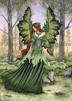 Amy Brown-Lady of the Forest, green fairy print.....