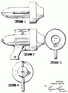 Design patent for a toy ray gun. Manufacturer unknown. Designed by Thomas M. Shelton, 1947.