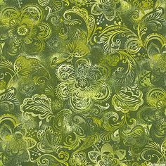 "Floral Medley - Garden of India - Olive - 108"" QUILT BACKING - available in many colors"