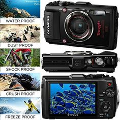 Preserve memories from your most adventurous trips with the water, crush, shock, freeze, and dustproof red Stylus TOUGH TG-4 Digital Camera from Olympus. In addition to being fully sealed from dust, the TG-4 is built to withstand underwater dives up to 50′ deep, falls from up to 7′ high, temperatures as low as 14°F, and pressure up to 220 lbf. While serving to protect on an array of adventures, these features are also well-suited to use in everyday circumstances. Additionally, it adds RAW…