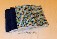Baby Burp Cloths/ Minky / Cotton Blue by DarlenesNeedlesnPins