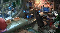 145 fantastic computer gaming room decor ideas and design 32 Spaceship Interior, Futuristic Interior, Futuristic Art, Cyberpunk Aesthetic, Cyberpunk Art, Sci Fi City, Design Ios, Science Fiction Art, Environment Concept Art
