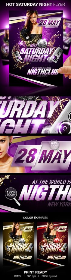 Hot Saturday Night Party Flyer Template by Party Flyer, via Behance