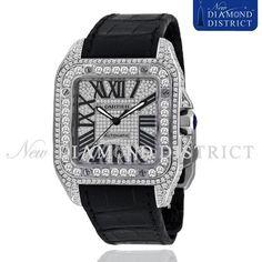 13.25ct Total Full Pave Set All Diamond Cartier Santos 100 Large Watch #Cartier