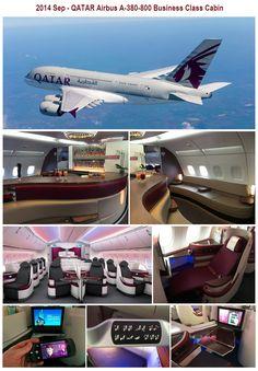 2014 Sep - Qatar Airbus A-380-800  Business Class Cabin